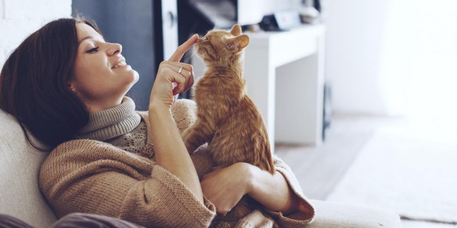 woman and cat comfortable at home